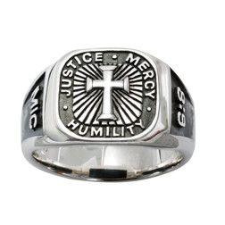 Sterling Silver Men's Cross Christian Ring - Signet/Micah 6:8