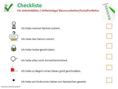 Autismus Arbeitsmaterial: Checkliste für Klasenarbeiten