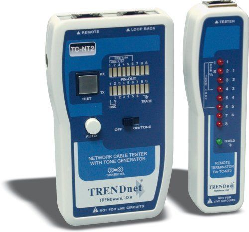 TRENDnet Cable Tester 10/100 COAX and TP ( TC-NT2 ) by TRENDnet. $39.99. The TC-NT2 is a convenient and comprehensive cable tester for network professionals. Its powerful and user-friendly features enable network installers to accurately check pin configurations of various voice and data communication cables. The TC-NT2 includes a master unit that transmits test signals to its corre-sponding remote terminator to verify cable reliability. It checks continuity and d...