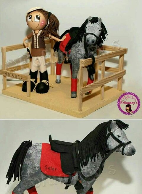 Fofucha jinete con caballo en goma eva, foamy.