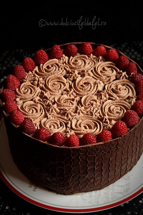 Dark Chocolate Cake with Raspberry Mousse and Chocolate Cream