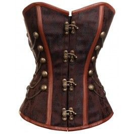 CD-231 - Brown Steampunk Style Overbust Corset with Chain and Stud Detail - STOCK AVAILABLE/MADE TO ORDER  £105.60
