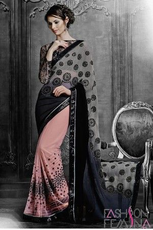 Black and Peach Net Party Wear Saree  http://www.fashionfemina.com/catalogs/magnificent-designer-sarees-online/  #sarees, #designer sarees, Wedding sarees, Online shopping, #latest collection #indian sarees, #ethnic sarees collection #buy designer sarees online #new arrival #party wear sarees
