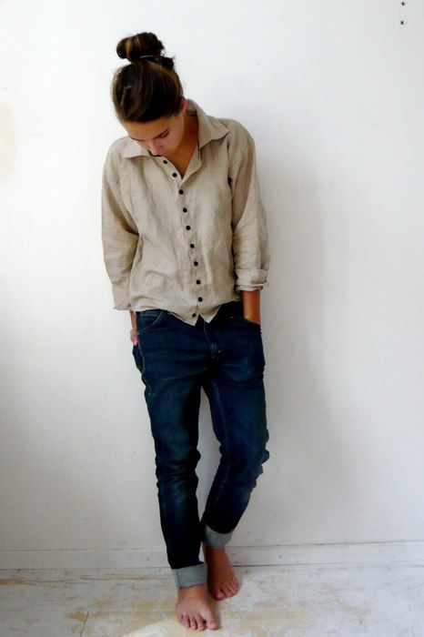 love the slouchy look, the tan button up shirt, and dark blue jeans