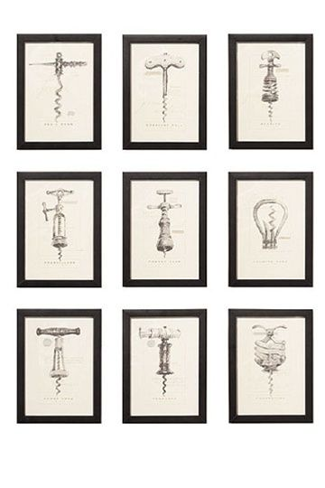 Vintage corkscrew prints by Barbara Cosgrove