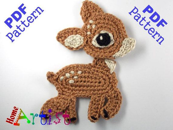 Deer Crochet Applique Pattern