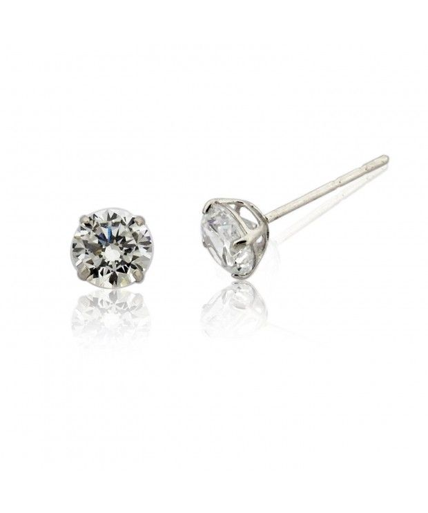 10k Gold Round Clear 4mm 0 50 Cttw Cubic Zirconia Stud Earrings Cb120xrypox Stud Earrings