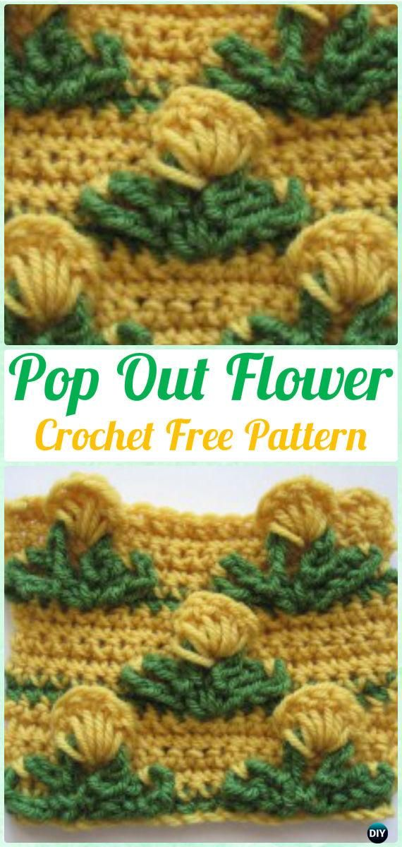 Crochet Pop Out Flower Stitch Free Pattern - Crochet Flower Stitch Free Patterns