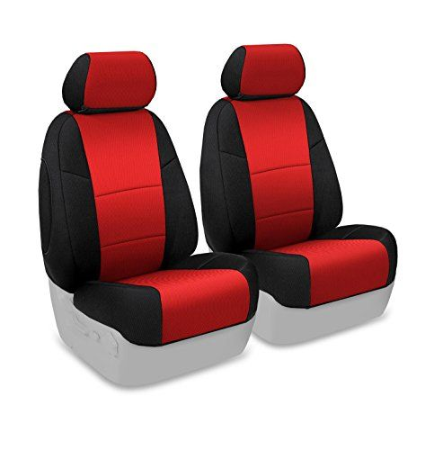 Coverking Custom Fit Front 50/50 Bucket Seat Cover for Select Ford Mustang Models - Spacermesh 2-Tone (Red with Black Sides) - http://musclecarheaven.net/?product=coverking-custom-fit-front-5050-bucket-seat-cover-for-select-ford-mustang-models-spacermesh-2-tone-red-with-black-sides