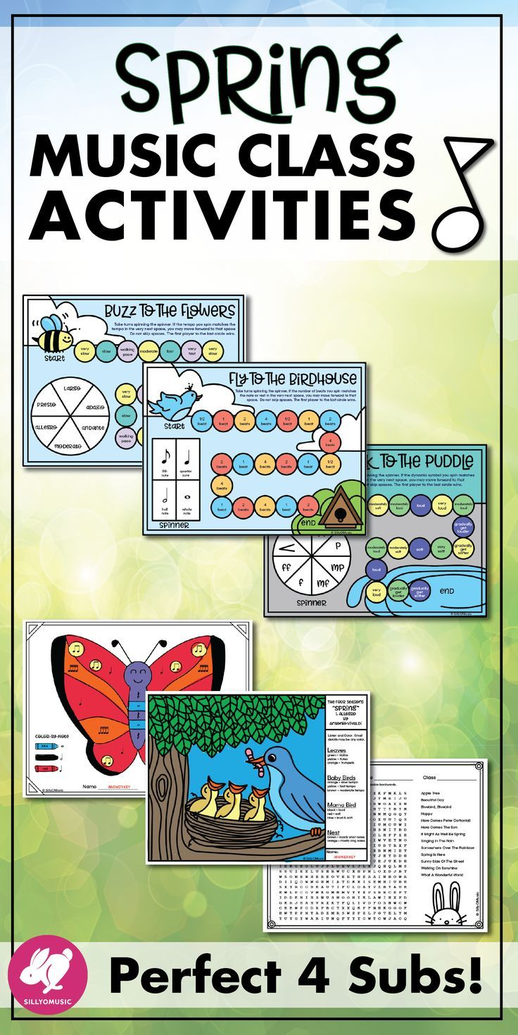 """This fun spring music activities, worksheets, printables, & spinner board games set are great for elementary/general music class lesson plans as well for as band, orchestra, & piano students. These lessons supplements have lots of theory coloring sheets that are perfect for the sub tub, color by note (US, UK, treble clef, bass, & alto), answer keys, a word search, centers games, a Vivadi """"Spring""""  listening glyph, rhythm, note spelling, and more. Look great on bulletin boards! #silly"""