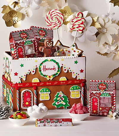 Harrods Tuck Box Christmas Hamper - Love the idea to make the cardboard box a gingerbread house design <3