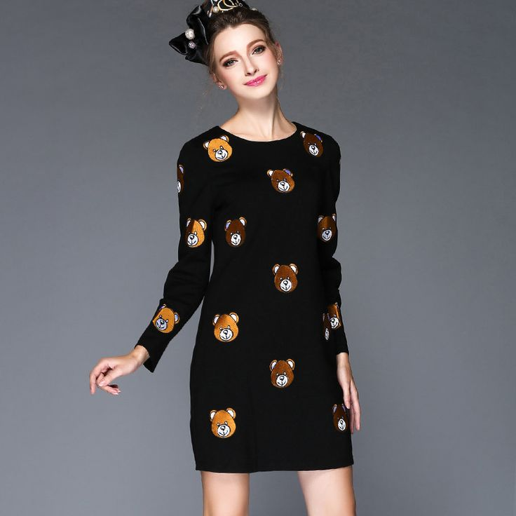 S- 5xl Embroidery Bear Pattern Autumn  Dress Black Red Long Sleeve Mini   Vestidos Mujer  est Oh Yeah Visit our store