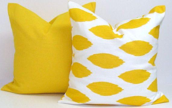 Gray.Yellow Pillows.ALL SIZES.Decorative Pillow by ElemenOPillows custom solid yellow lumbar pillow