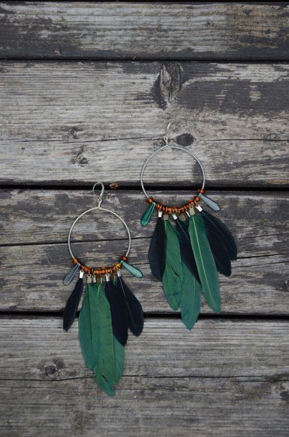 Handmade feathers earings with baltic amber
