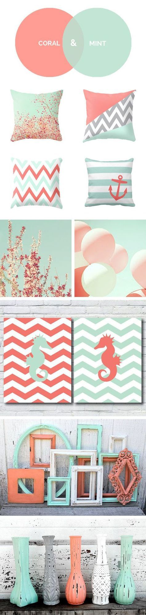 Coral y Menta son los colores de la temporada. ¿Os gustan para decorar la habitación? mood board