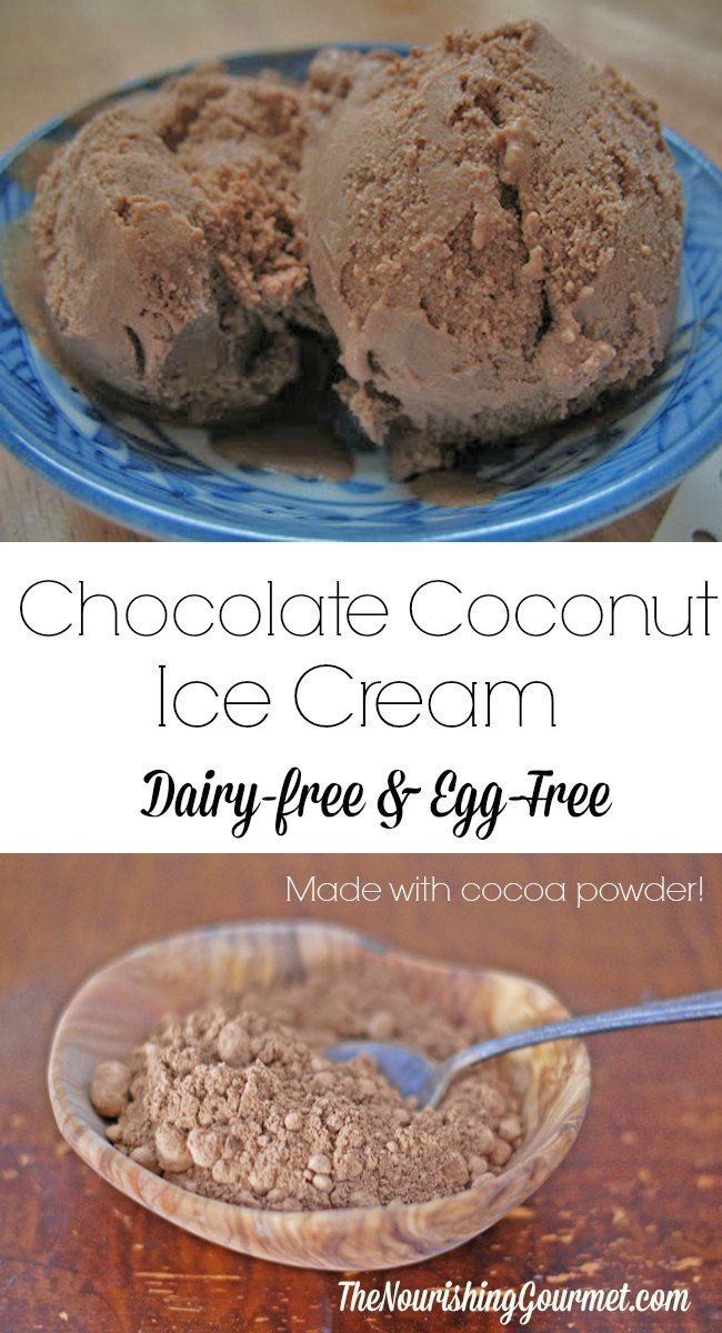 """This delicious dairy-free ice cream is made with creamy coconut milk or cream! For this version, cocoa powder is used for an """"every day"""" priced treat, that still is special! It's also egg free, and appropriate for those who eat vegan OR paleo. --- The Nourishing Gourmet"""