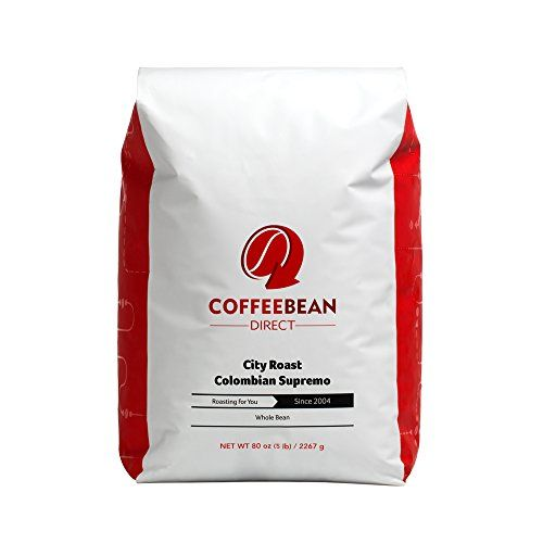 Coffee Bean Direct City Roast Colombian Supremo Whole Bean Coffee 5Pound Bag *** Click on the image for additional details.