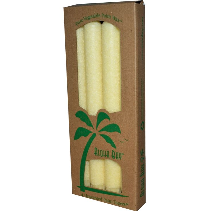 Aloha Bay, Palm Wax Taper Candles, Unscented, Cream, 4 Pack, 9 in (23 cm) Each