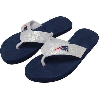 New England Patriots Ladies Team Color Sequin Flip Flops - Navy Blue/White