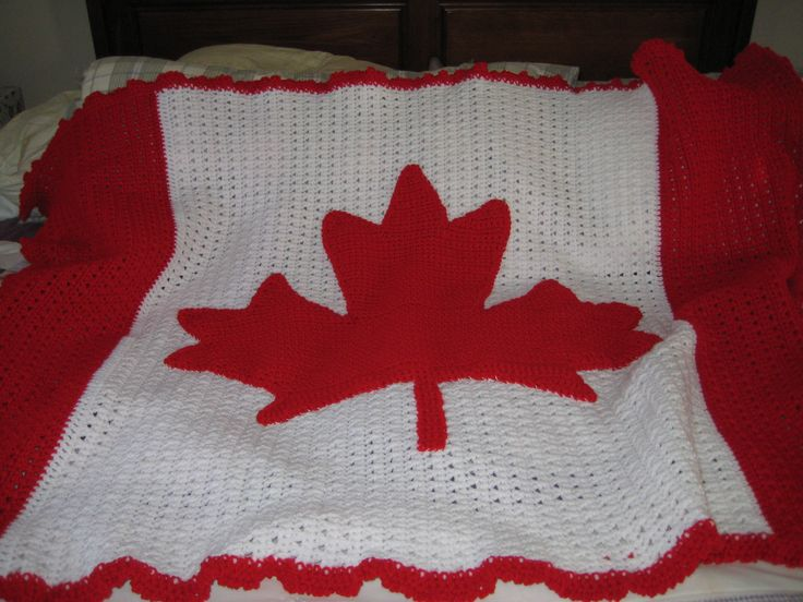I followed a graph of the Canadian Flag Maple Leaf and then sewed it on the finished afghan