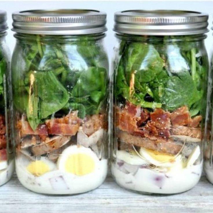 Salade en bocal bacon épinards