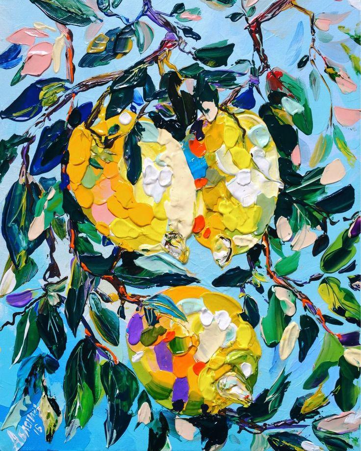 Купить Лимоны - лимон, лимоны на ветке, лимонная ветвь, фрукты, картина в…