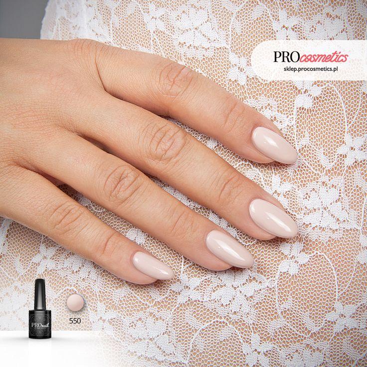 Paznokcie nude nudziaki hybrydowe żelowe ślubne PROnail 550 Uciekająca Panna Młoda cieliste paznokcie
