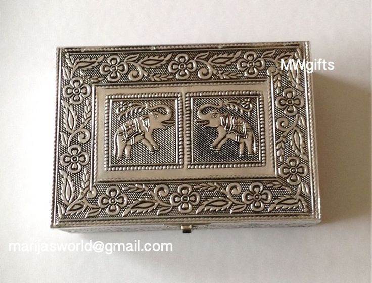 Medium Silver Metal Indian/Moroccan Style Jewellery Box with Elephants