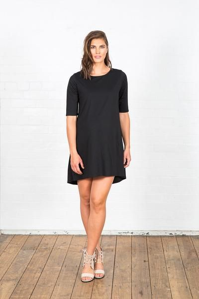 Runway Black Maternity Dress with hi-low hem. Street style maternity clothes. Perfect for work, office, play or everyday!