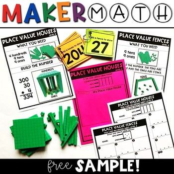 Try this free Place Value sample for Maker Math for K-2nd! Click below to see the full package: ★MAKER MATH FOR K-2nd If you and your