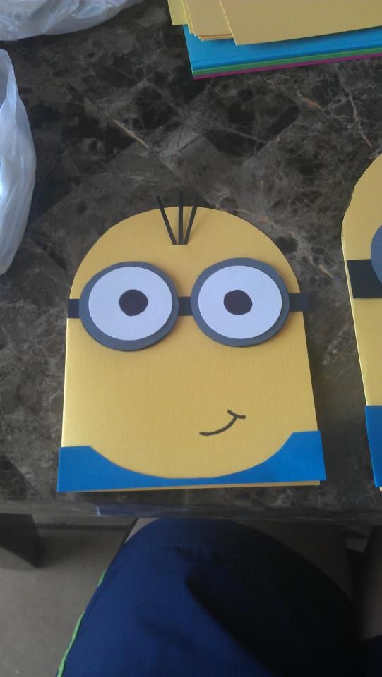 home made invites for my minion's first birthday!