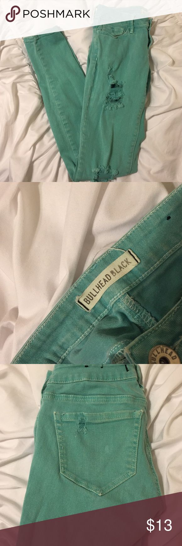 Bullhead Black Distressed skinny jeans Teal distressed jeans in good condition. Willing to trade and negotiate! (Listed as Brandy Melville for exposure) Brandy Melville Pants Skinny