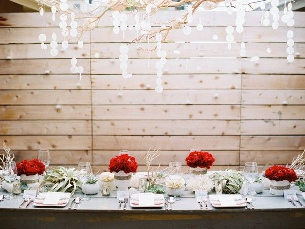 red, glass, flowers, decorations, setting, venue, reception, real, modern , California