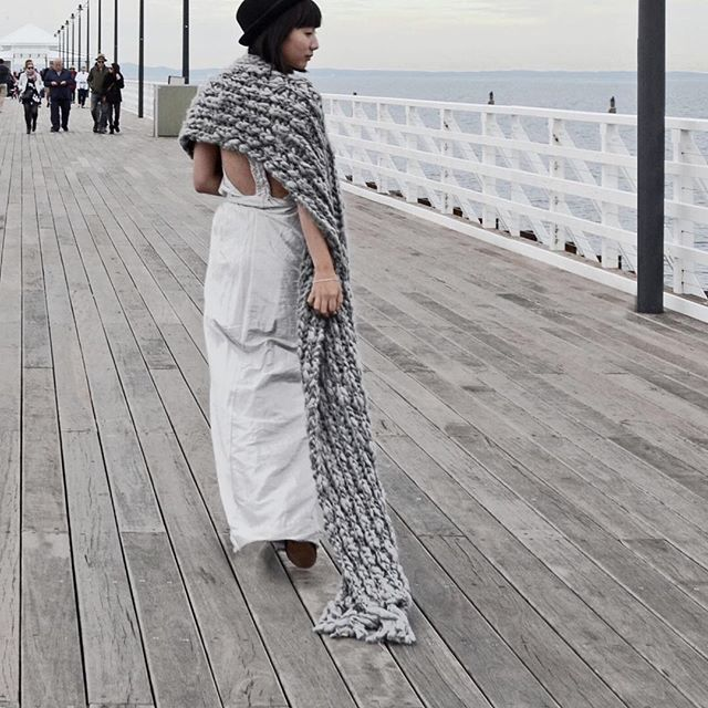 just a hint of glamour. #stylebyjoelle #jetty #gown #chunkyscarf #wool #silk #silver #grey #neutral #backless #boardwalk #winter #gown #eveningwear #elegant #glamorous #shorncliffe #pier