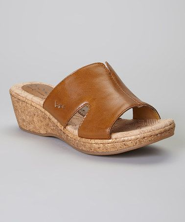 Love this Mocha Teraina Leather Wedge Sandal by b.o.c on #zulily! #zulilyfinds
