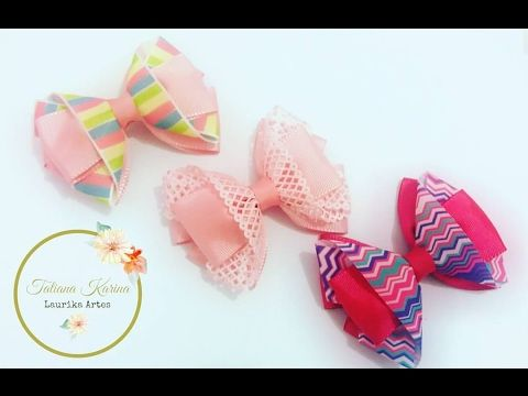 Laço kanzashi 7 com detalhe de fita decorada by  Tatiana Karina DIY/ Tutorial /PAP - YouTube