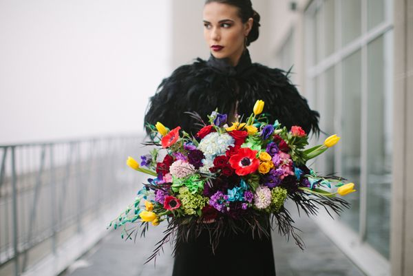 Glamourous bright colored bouquet by Flowers Time for the wedding magazine #Valentino#luxury#black#bright#red#yellow#green#photoshoot#toronto#model#fashion#vogue#style