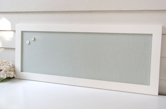 Long Narrow Magnet Board - Kitchen Bulletin Board Magnetic Organizer with Silver Blue/Seafoam Cotton Fabric and Handmade Frame