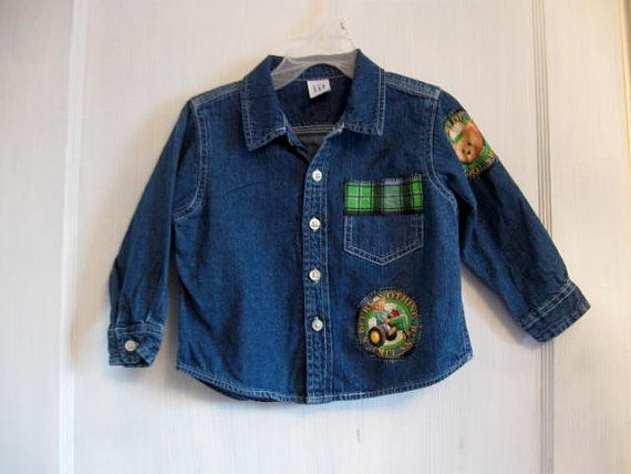 Reconstructed Boys Denim Shirt John Deere Denim shirt sz 2 year  ‪#‎craftshout0206‬