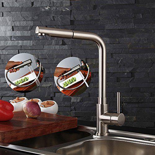 Homelody Robinet Cuisine Cuivre Mitigeur Evier Cuisine Douchette Extractible Brossé 2 Jets variables en Laiton Durable Robinetterie Cuisine…