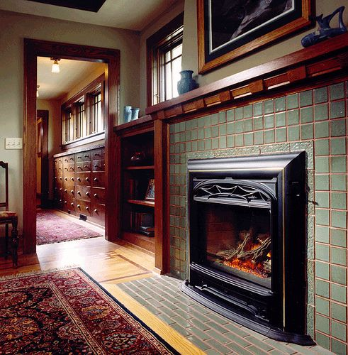 17 best images about tile fireplaces on pinterest for Craftsman fireplace pictures