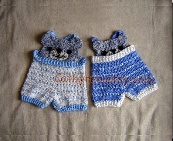 Funny Bear Baby overall shorties