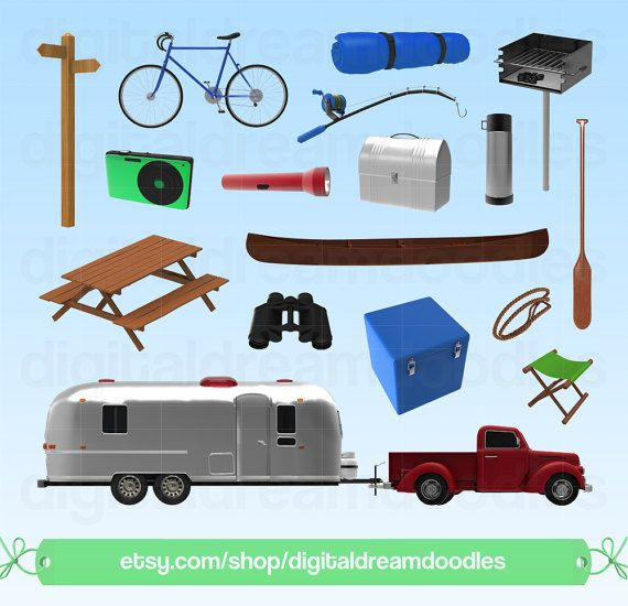 Camper Clipart Vintage Retro Caravan Graphic Airstream Trailer Image Silver