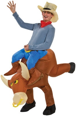 ILLUSION BULL RIDER INFLATABLE ADULT COSTUME Funny Comical Halloween Headturner | eBay