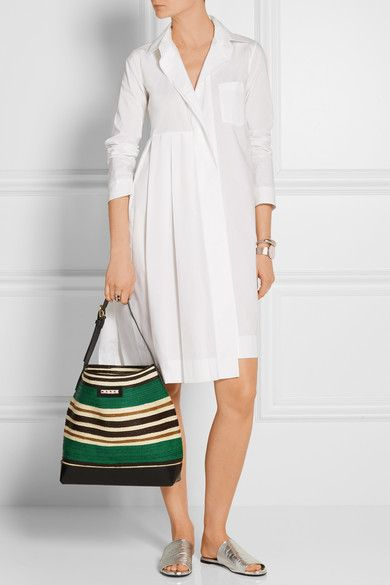 Marni | Leather-trimmed raffia tote | NET-A-PORTER.COM