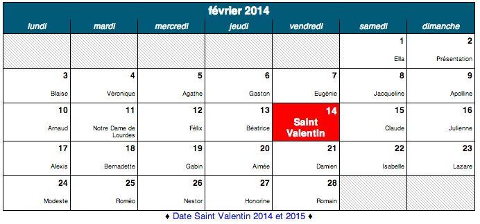 Dates des fêtes de février 2014, et tous les Saint à souhaiter. Ne ratez aucunes fêtes grâce à notre calendrier de fête.
