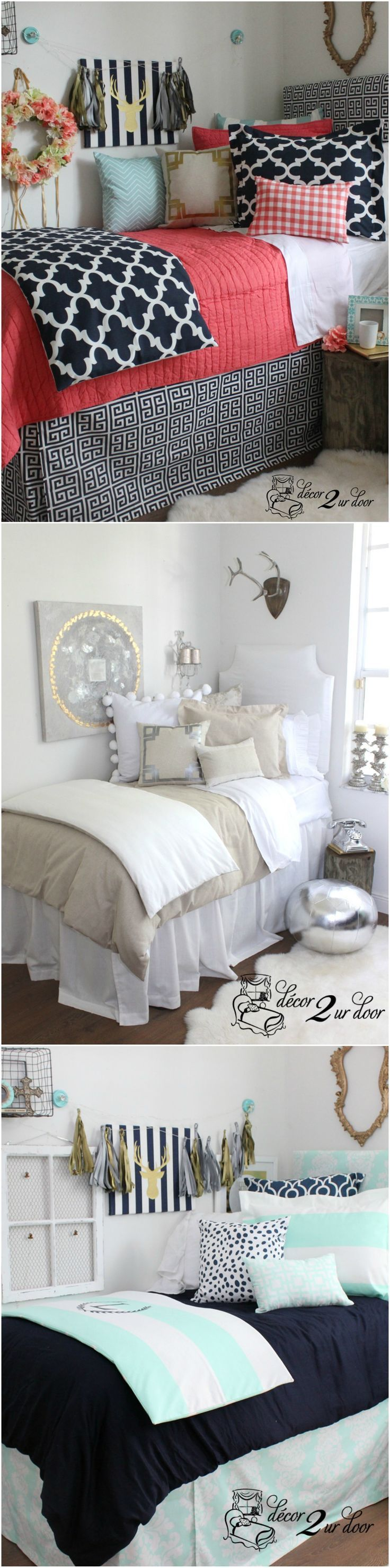 Decorating a dorm room? Check out Décor 2 Ur Door for the latest dorm room decorating trends. Top dorm room Dorm Room Décor. Custom-made Designer Dorm Room Bedding. Design your own dorm room bedding. Designer dorm headboard, dorm bed scarf, dorm bed skirt/dorm dust ruffle, monogram dorm room pillows, dorm room window treatment, lofted dorm bed décor, dorm room wall monogram, chair cover for dorm room, modern dorm room furniture and so much more!