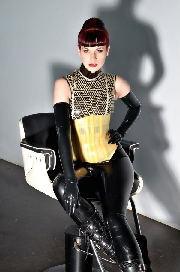 Bees Wax by LadyVezina  in the chair  Latex Latex lady