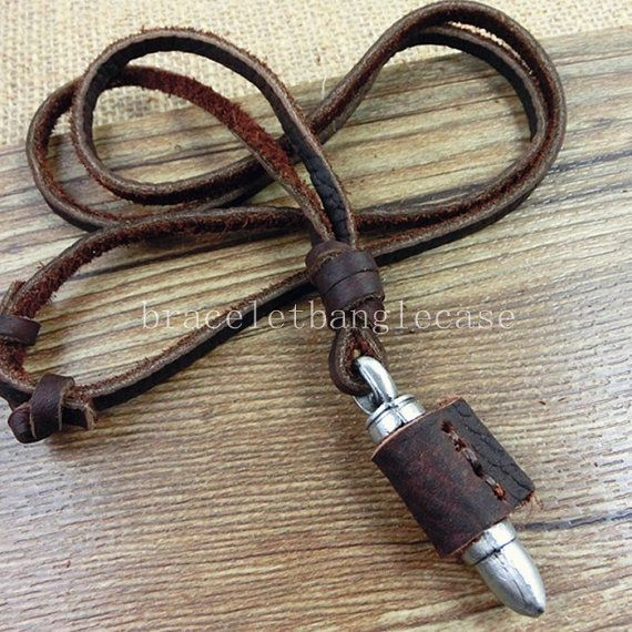 Antique silver bullet pendant leather necklace,brown leather necklace,men or womens leather necklace F-112