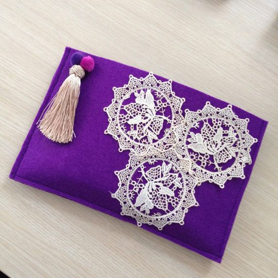 Lace Clutch, Felt Ethnic Handbag, Boho bag, Bohemian Clutch, Bridemaids clutch, clutch purse, valentines gift